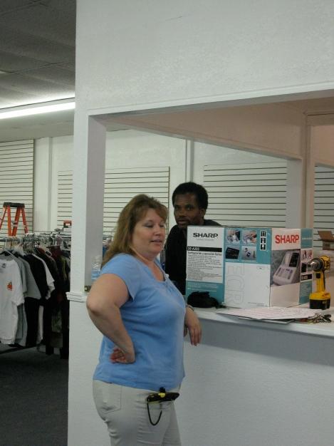 Dawn and DeWayne taking a break from their hard work as volunteers